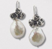 A Pair of Handmade Sterling Silver, German Silver  and Freshwater Pearl DROP EARRINGS.