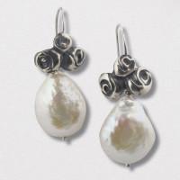 A Pair of Handmade Sterling Silver, German Silver  and Freshwater Pearl DROP EARRINGS.