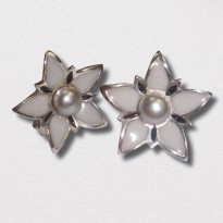 A Pair of Handmade Sterling Silver and Enamel STUD EARRINGS with Freshwater Pearl at centre.