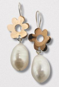 A Pair of Handmade Sterling Silver, 18ct Rose Gold and Freshwater  Pearl DROP EARRINGS. Gold mass 3.9gms.