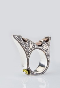 Sterling Silver, Fine Silver and Enamel Engraved Ring R4,100 | Nina Newman