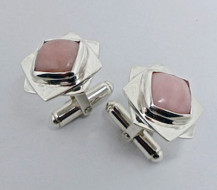 Cufflink | Pink Andes opal and sterling silver