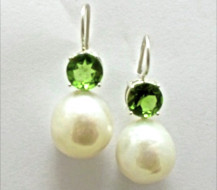 Pair Sterling Silver, Round White Freshwater Pearl and Peridot DROP EARRINGS. R5,520