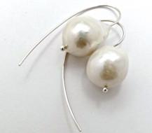 Pair Sterling Silver and White Freshwater Pearl LOOP EARRINGS. R2,120