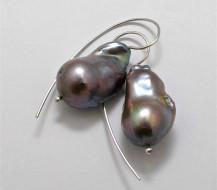 Pair Sterling Silver LOOP EARRINGS with XXL Grey Baroque Freshwater Pearls.R1,660