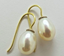 Pair 18ct White Gold and 18ct Yellow Gold DROP EARRINGS with White Freshwater Pearls. R4,560