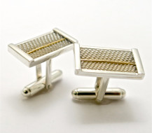 Sterling Silver and Yellow Gold Basket Weave