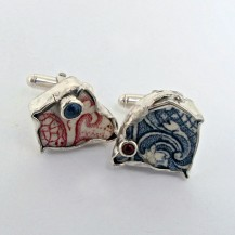 Porcelain and Silver cufflink