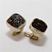 Natural Garnet Drusy slices in Sterling Silver