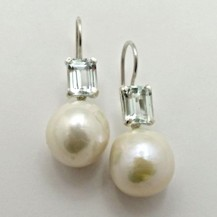 Pair Sterling Silver, Round White Freshwater Pearl and Aquamarine DROP EARRINGS.R4,560