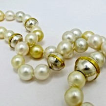 NECKLACE of South Sea Pearls with Handmade Sterling Silver and 18ct Yellow Gold Ball Elements and Clasp. Gold mass 11.6gms. P.O.A.