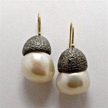 Pair Sterling Silver and 18ct Yellow Gold DROP EARRINGS with White Freshwater Pearls. R4,740
