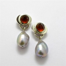 Pair Sterling Silver DROP EARRINGS with Garnet and Freshwater Pearls. R3,840