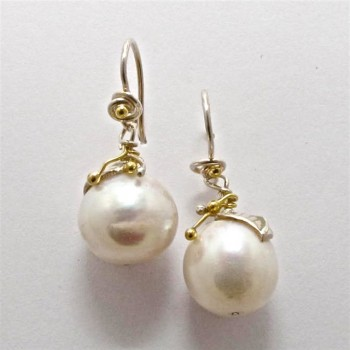Pair Sterling Silver and 18ct Yellow Gold DROP EARRINGS with Freshwater Pearls. R3,980