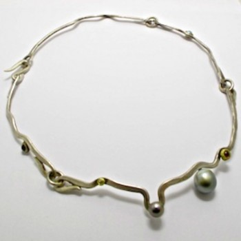 Sterling Silver and 9ct Yellow Gold NECKLACE with Tahitian Pearls, Diamond (0.04cts.), Rhodalite and Turquoise. R13,200