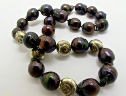 Sterling Silver and Copper Ball Elements and Matching Clasp on NECKLACE of Black Freshwater Pearls. R10,800