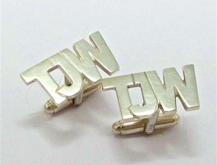 Sterling silver cut-out initials