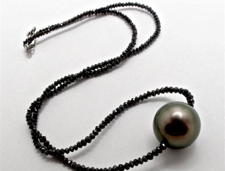 Black Diamond NECKLACE with Tahitian Pearl. R36,600