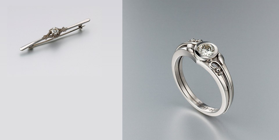 Remodelled diamond brooch into a modern engagement ring